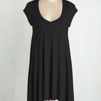 Long Cap Sleeves A Crush on Casual Tunic in Black