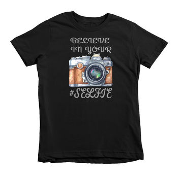 Believe in Your #Selfie Short sleeve kids t-shirt