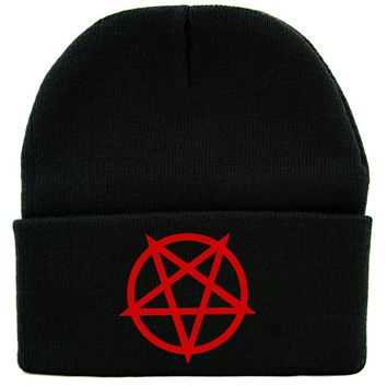 Red Unholy Inverted Pentagram Symbol Cuff Beanie Knit Cap Occult Alternative Clothing