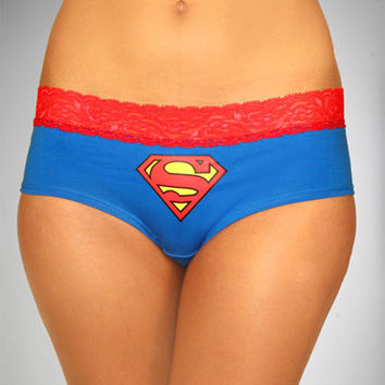 Supergirl Lace Trim Boyshorts