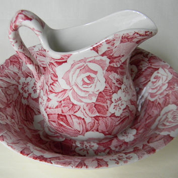 Floral Red Pink Victorian Chintz Roses Transferware Wash Bowl - Basin and Pitcher