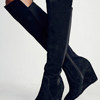 Black Suede Contrast Elastic Over-the-knee Wedge Boot