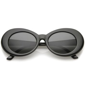Retro Oval Sunglasses With Tapered Arms Neutral Colored Round Lens  51mm