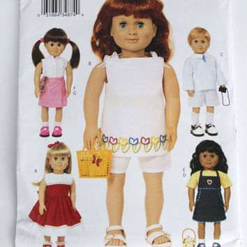 American Girl Doll clothes pattern New Butterick five adorable outfits  18 inch doll size summer style