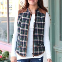 Quilted Vest with Suede Contrast on Plaid {Green Mix}