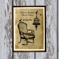 French interior art print Antique paper vintage style 8.3 x 11.7 inches