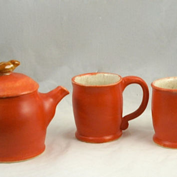 Coral Satin Tea Set with Brown Bird Knob - Hand thrown Stoneware Pottery - ceramic tea pot and two tea cups