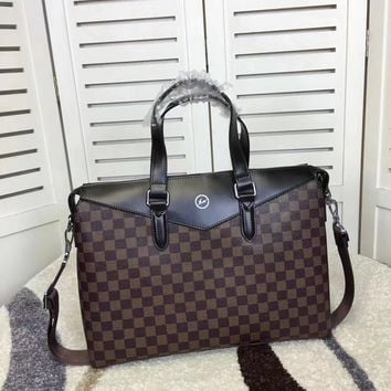 Lv Louis Vuitton Men Leather Briefcase Bag Inclined Shoulder Bag