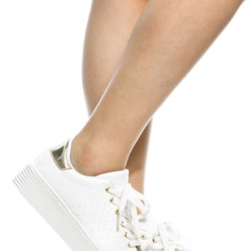 White Gold Faux Leather Flatform Creepers @ Cicihot Women Sneakers-Fashion Sneakers,Casual Sneakers,Wedge Sneakers,Platform Sneakers,Hidden Wedge Sneakers,High Top Sneakers,Lace Up Sneakers,Studded Sneakers,Buckle Sneakers