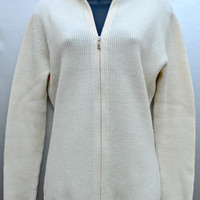 Brooks Brothers Cardigan Sweater - Full Zip Front - Winter White - Country Club - Women's Size Medium (M)
