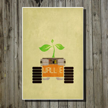 Disney poster Pixar poster movie poster Wall-E poster minimalist poster