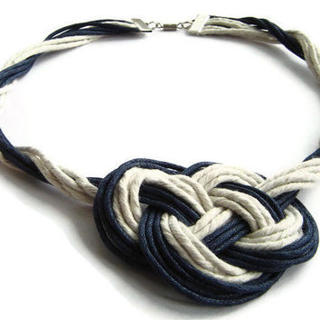 Nautical necklace, sailor knot, macrame, statement, navy & white