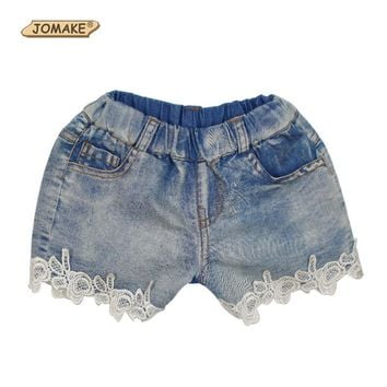 New 2016 Summer Fashion Girls Lace Flower Denim Pocket Short Jeans Pants Baby Casual Trousers Kids Shorts Children's Clothing