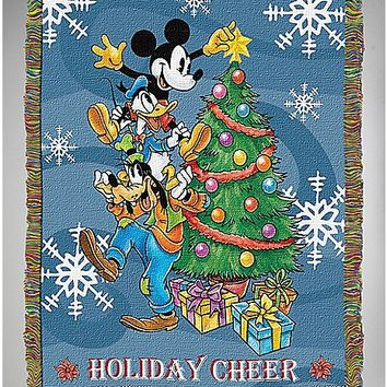 Holiday Cheer Mickey Mouse Tapestry Throw Blanket - Disney - Spencer's