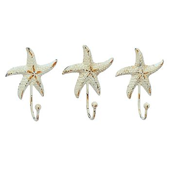Vintage Starfish Wall Hooks | Cast Iron Antique White