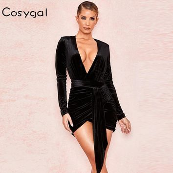 COSYGAL 2019 Autumn Winter Dresses Deep V Neck Bodycon Sexy Dresses Women Sashes Lace Up Night Club Party Dress Vestidos