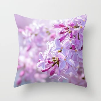 Pink Lilacs Flower Mist Throw Pillow by digital2real