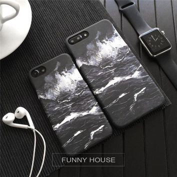 Original black and white waves iphone76s7plus half matte protective cover [46978793484]