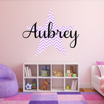 Personalized Chevron Star Name Monogram Girls Wall Decal Graphic Vinyl Sticker Home Bedroom Nursery Wall Decor