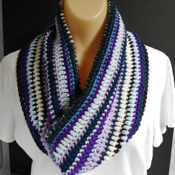 Blue Striped Infinity Scarf Handmade Crochet Cowl, Purple Blue White Any Size  Knitted Neck Warmer