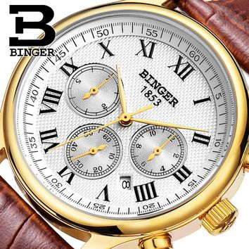 Authentic Swiss BINGER Brand Men automatic mechanical self-wind sapphire gold watch waterproof leather strap business table