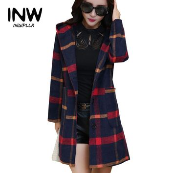 2019 Autumn Winter Women Coat Chaquetas Mujer Hooded Plaid Jackets Femme Single Breasted Woolen Coats Plus Size Women Jacket