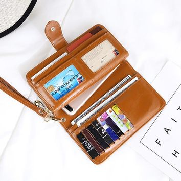 WESTERN AUSPICIOUS Women Wallet Purse Wallet Female Card Holder Long Lady Clutch Carteira Feminina PU Leather Purse for Phone