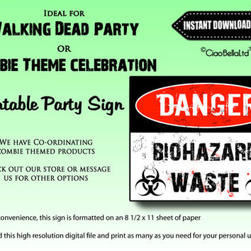 Danger Biohazard Waste Printable Party Sign - INSTANT DIGITAL DOWNLOAD