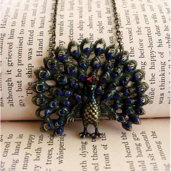 The Mysterious Peacock Necklace by sodalex on Etsy