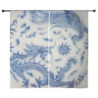 "BLUE AND WHITE CHINOISERIE DELFT VINT 60"" CURTAINS"