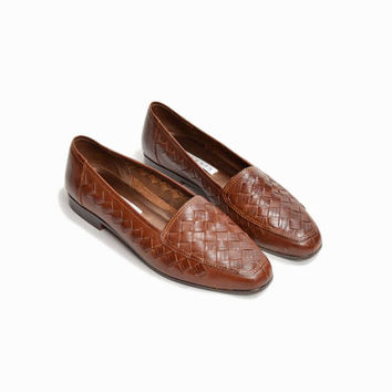 Vintage Woven Leather Flats in Brown Basketweave - women's 7.5