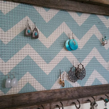 Jewelry organizer, jewelry display, teal chevron, light blue chevron, barnwood framed jewelry holder