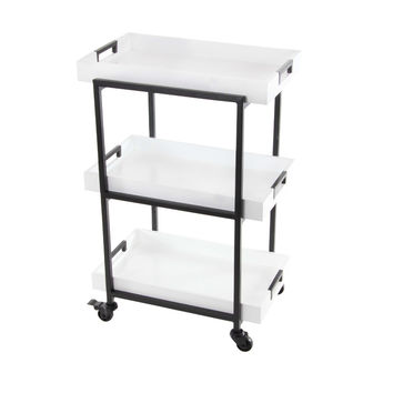 White Finish Metallic And Wooden Rolling Cart