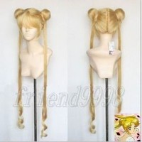 Hot sell !!! new Mixed golden Sailor Moon Tsukino Usagi cosplay Party wig