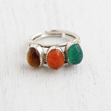 Vintage Sterling Silver Scarab Ring - Semi Precious Stone Jewelry Signed Beau Adjustable Egyptian Revival Jewelry / Triple Scarab