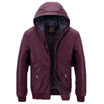 Slim Fit Biker Solid Color Hooded Military Casual Faux Leather Jacket for Men