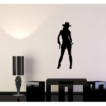 Wall Sticker Vinyl Decal Cowboy Girl Cowgirl with Guns Hat Western Unique Gift (g107)