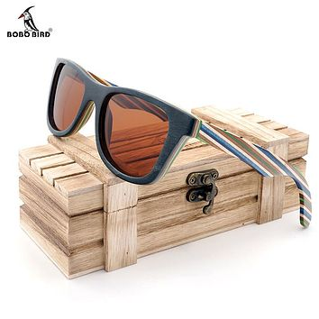 Polarized Wood Sunglasses Layered Skateboard Wooden Frame Square Style forWomen Men In Wood Box