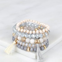 Assorted Beaded Bracelet Set Grey/Blue