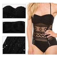 Sexy Lace Crochet One Piece Swimwear 2015 New Fashion Top Halter Monokini Vintage Hollow Women Swimsuit = 1955994436
