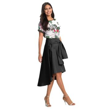 Feitong women Flared Knee Length Skater Skirt Ladies Casual Miniwork Skirt