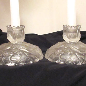 Fenton Candle Holders, Frosted Water Lily Candle Holders, Wedding Gift, Shower Gift, laslovelies