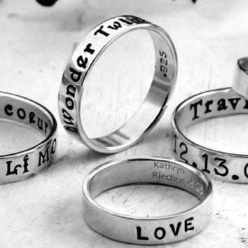 Custom Ring hand stamped with your message -- Sterling Silver Posey Ring (Original) --  messages on the inside or outside-