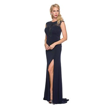 Juliet 627 Navy Blue ITY Cap Sleeves Evening Gown Illusion Beaded Neckline