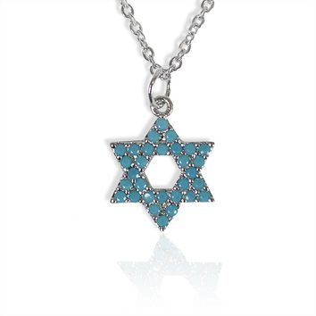 Turquoise Studded Star Of David Necklace