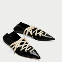 LEATHER MULE BALLERINAS WITH LACES DETAILS