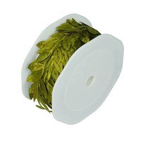 Polyester Leaf Garland Ribbon, 10-yard, Moss Green