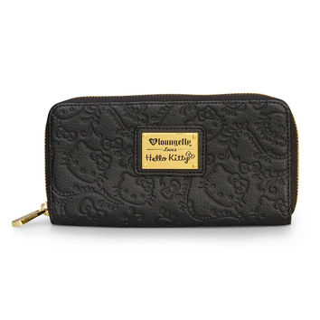 Hello Kitty Loungefly Floral Embossed Black Zip Wallet