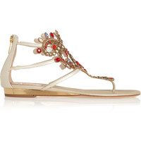 René Caovilla - Atena Swarovski crystal-embellished lizard-effect leather sandals