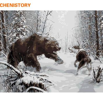 CHENISTORY Black Bear Wolf Animals DIY Painting By Numbers Kits Modern Wall Art Canvas Painting Unique Gift For Home Artwork